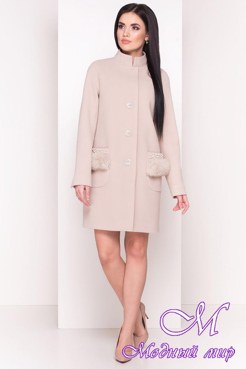 Женское красивое пальто с мехом на карманах (р. S, M, L) арт. Этель 4494 - 33818