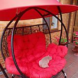 Качели кокон двухместная красная с крышей, фото 7