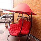 Качели кокон двухместная красная с крышей, фото 6