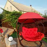 Качели кокон двухместная красная с крышей, фото 4