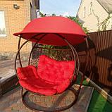 Качели кокон двухместная красная с крышей, фото 3