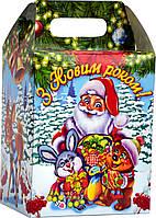 Упаковка картонная для подарков Будиночок Звірята 1000-1300г (новогодняя для конфет)