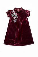 Нарядное платье для девочек. Бархат. Бордо. Размеры 110, 116, 122, 128.