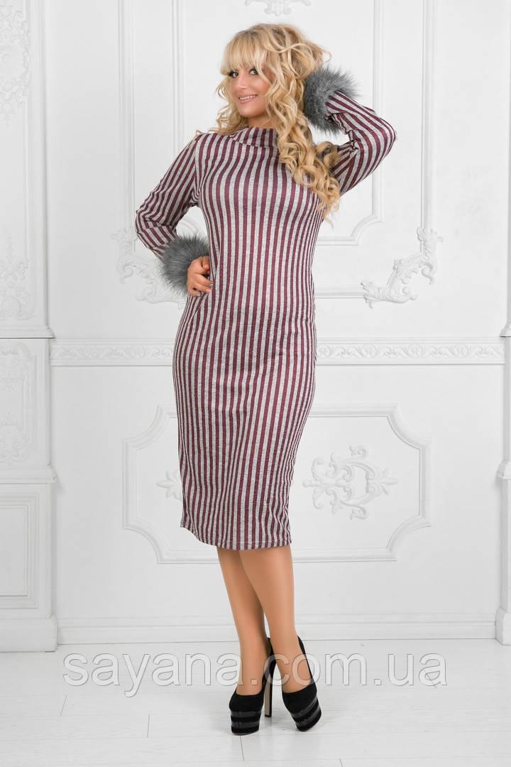 Женское платье со съемными манжетами в расцветках, р-р 50-56. ПН-8-1018