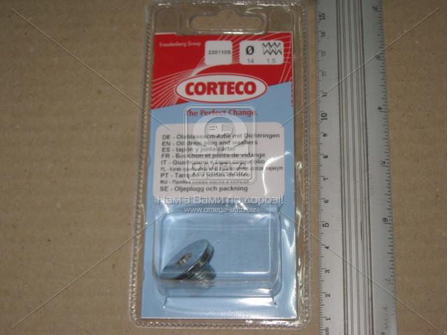 Пробка слива масла DAEWOO/CHEVROLET/OPEL M14x1.5x10.5, Corteco 220110S
