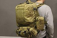 Тактический Штурмовой Военный Рюкзак с подсумками на 50-60 литров Black (1004 песок), фото 1