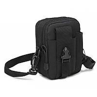 Тактическая универсальная (поясная) сумка - подсумок с ремнём Mini warrior с системой M.O.L.L.E (с101 черная), фото 1