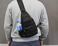 Тактическая, штурмовая, военная, универсальная, городская сумка на 5-6 литров с системой M.O.L.L.E s4 (черная), фото 1