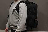 Тактичний Штурмової Військовий Рюкзак з підсумкими на 50-60 літрів Black (1004 чорний), фото 2