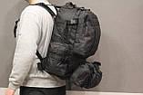 Тактичний Штурмової Військовий Рюкзак з підсумкими на 50-60 літрів Black (1004 чорний), фото 3