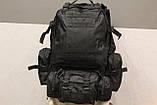 Тактичний Штурмової Військовий Рюкзак з підсумкими на 50-60 літрів Black (1004 чорний), фото 5