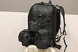 Тактичний Штурмової Військовий Рюкзак з підсумкими на 50-60 літрів Black (1004 чорний), фото 6