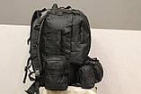 Тактичний Штурмової Військовий Рюкзак з підсумкими на 50-60 літрів Black (1004 чорний), фото 7