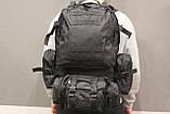 Тактичний Штурмової Військовий Рюкзак з підсумкими на 50-60 літрів Black (1004 чорний), фото 8