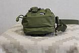 Тактическая универсальная (поясная) сумка - подсумок с ремнём Mini warrior с системой M.O.L.L.E (с101 олива), фото 3