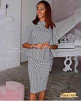 Женский костюм с кофтой и длинной юбкой в гусиную лапку