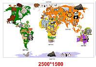 Наліпки - Карта світу на стіну без ламінації