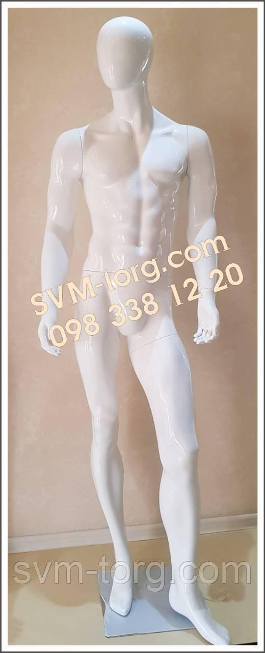 Манекен мужской белый лакированный на хромированной подставке