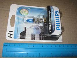 Лампа накаливания H1 12V 55W P14,5s Cristal Vision 1шт blister 4300K, Philips 12258CVB1
