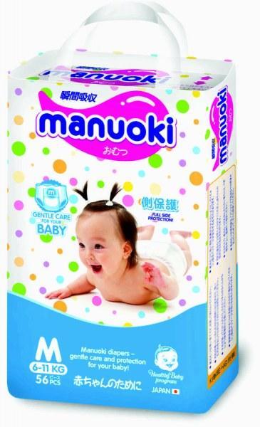 Подгузники-трусики MANUOKI, размер М (6-11 кг) 56 шт.