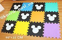 Игровой мягкий коврик пазл 90*120 см (микки, разноцветный)