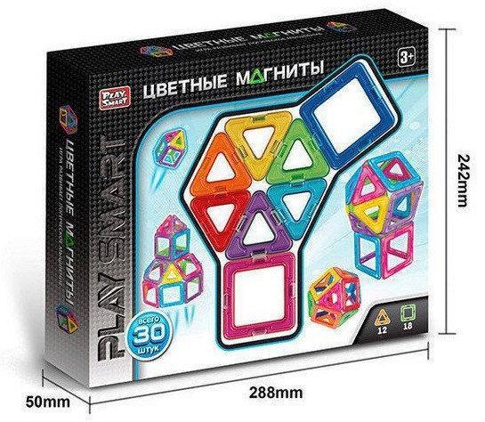 """Магнитный конструктор Play Smart 2427 """"Цветные магниты"""" Геометрические фигуры, 30 деталей, 9 моделей"""