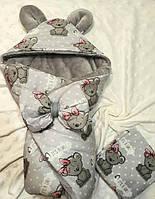 """Зимний плюшевый конверт-одеяло на выписку """"It's a girl!"""""""