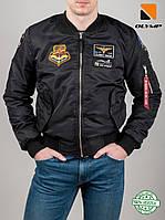Куртка демисезонная мужская короткая Old School Olymp MA-1 черный с нашивками, фото 1