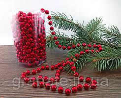 Бусы на ёлку, пластиковые, цвет: красный 10мм*8м