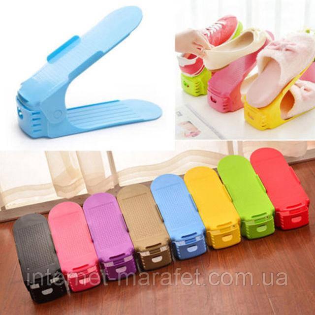 Двойная подставка под обувь пластмассовая, двойная стойка для обуви