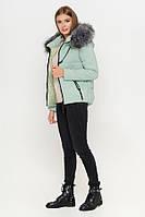 Куртка женская зимняя короткая с мехом   Мятная