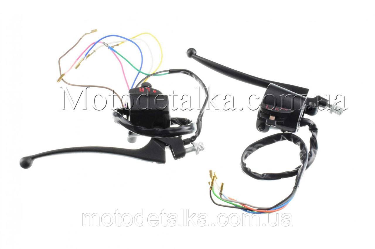 Блоки кнопок руля (пара) Suzuki AX100 (черные, рычаги, крепление) KOMATCU