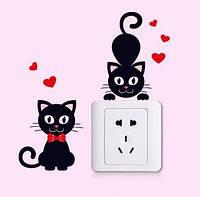"""Интерьерная виниловая наклейка на выключатель """"Коты"""""""