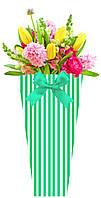 Бумажная сумка для букетов и горшечных цветов, полосы зеленые