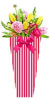 Бумажная сумка для букетов и горшечных цветов, полосы красные