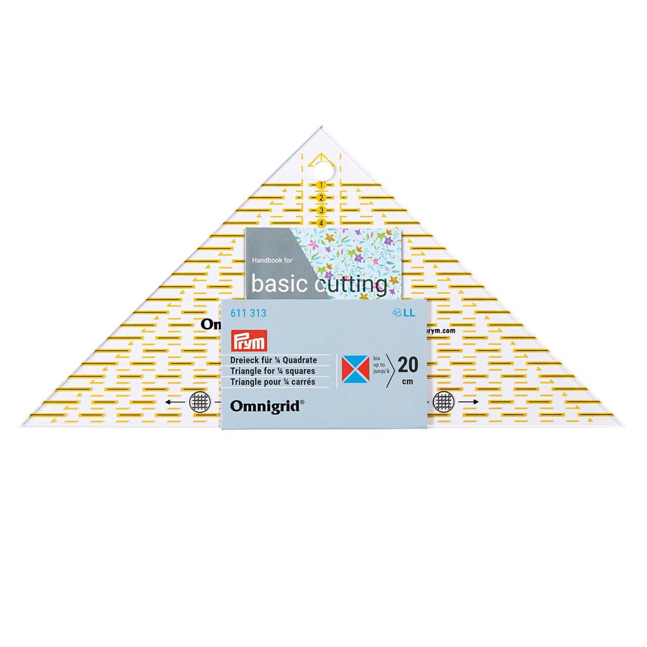 «Проворный» треугольник Prym 611313 с сантиметровой шкалой для квадрата до 20 см