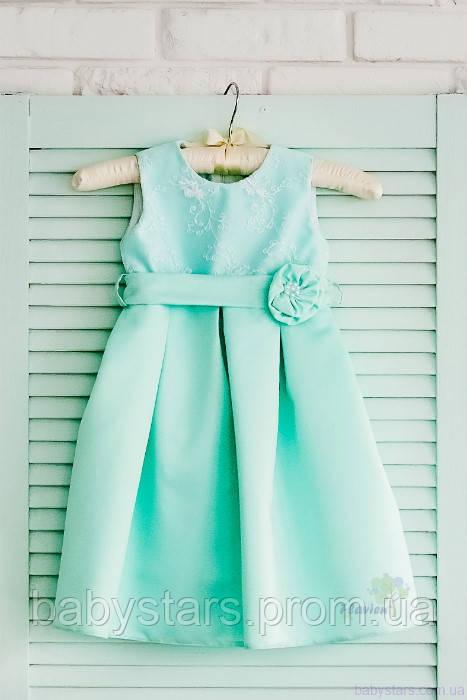 Бирюзовое класическое платье для девочки код: 7020, размеры: от 80 до 116
