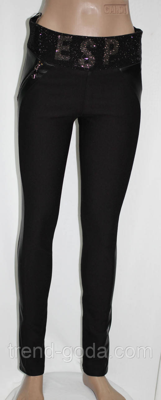 Лосины женские, черные с вставками из эко-кожи, Турция