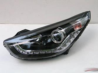 Передние фары тюнинг оптика Hyundai IX35 черные