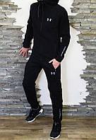 Спортивный мужской теплый костюм Under Armour Андер Армор с капюшоном черный (реплика)