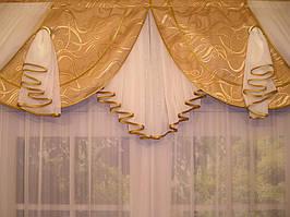 """Готовый ламбрекен """"Неаполь"""" Ширина ламбрикена: 300см Глубина средней части:  50см Длинна крайних хвостов: 120см Способ подвеса: пришита шторная лента для крючков. Код товара на сайте №110 Компания """"Декор Текстиль"""" тел:+380971062174, 0637755897"""