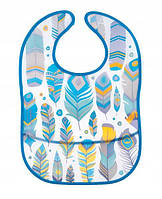 Слюнявчик пластиковый мягкий с карманом Canpol babies Wild Nature бирюзовый 9/234