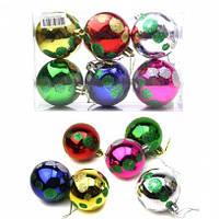Игрушки новогодние шары пластиковые с рисунком горох в прозрачной пачке 6 цветов 5см