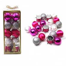 Игрушки новогодние шары в наборе однотонные в PVC пакете 20 штук 4 цвета