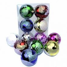 Шарик новогодний пластиковый 8 см 6 цветов 6 штук с рисунком Ёлки и петух