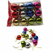 Шары новогодние пластиковые глянцевые 3см 6 цветов 12 штук в упаковке.