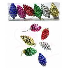 Игрушки новогодние форма шишки пластиковые в PVC пакете 6 штук 6 цветов