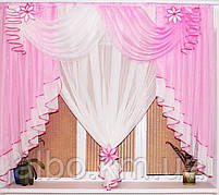 Занавеска в зал спальню гостинную из шифона, красивые занавески для гостинной зала кухни, готовая занавеска, фото 2