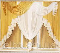 Занавеска в зал спальню гостинную из шифона, красивые занавески для гостинной зала кухни, готовая занавеска, фото 3