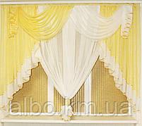 Занавеска в зал спальню гостинную из шифона, красивые занавески для гостинной зала кухни, готовая занавеска, фото 4